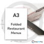 A3 Folded Restaurant Menus