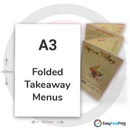 A3 Folded Takeaway Menus