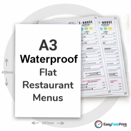 A3 Flat Waterproof Restaurant Menus